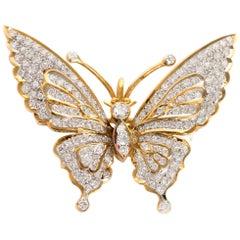 2000s 18 Karat Yellow Gold Diamond Brooch