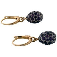 Yellow and White 18 Karat Gold with Amethyst Earrings by Pomellato