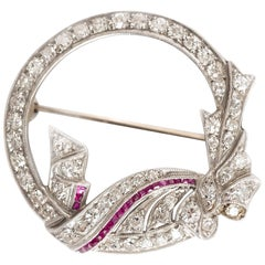 1920s Art Deco Platinum Diamond and Ruby Brooch