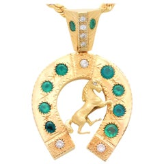 One-of-a-Kind Custom Gold, Diamond and Emerald Equestrian Pendant