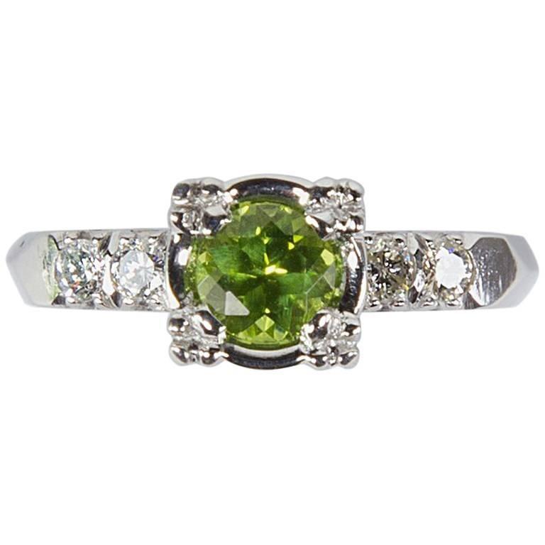 Green Tourmaline and Diamond Platinum Engagement Ring Estate Fine Jewelry