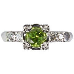 Green Tourmaline and Diamond Platinum Engagement Ring Estate Fine Jewelry
