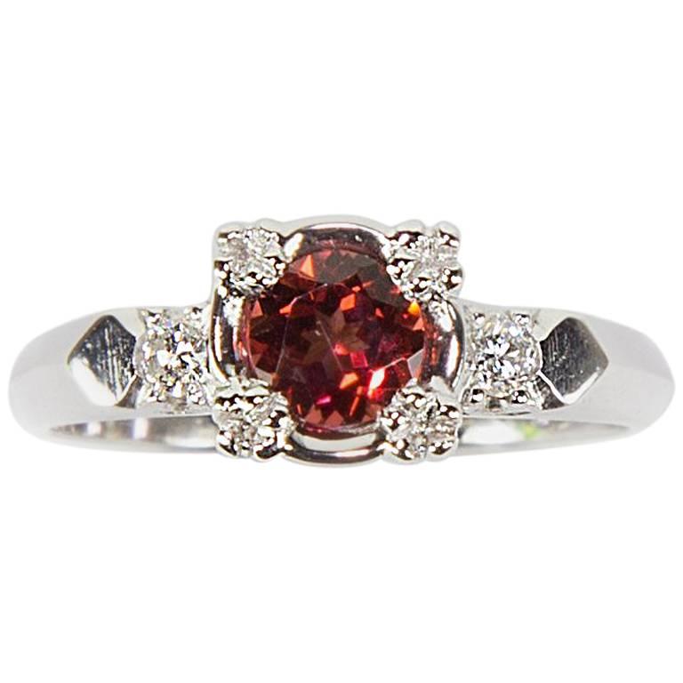 Pink Tourmaline and Diamond Platinum Engagement Ring Estate Fine Jewelry