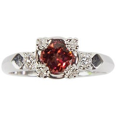 Pink Tourmaline and Diamond Platinum Engagement Ring