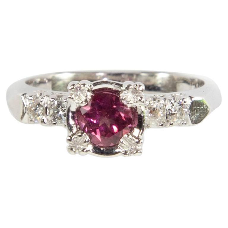 Pink Tourmaline Diamond Platinum Solitaire Engagement Ring Fine Estate Jewelry