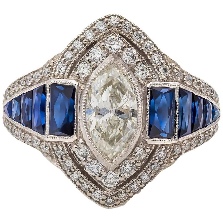 Engagement Marquise Diamond Ring Sapphire Baguettes In Platinum Like 1930's