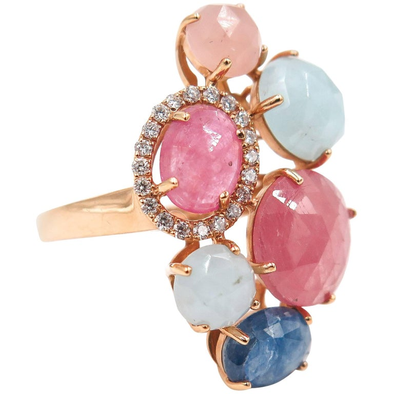 Multicolored Sapphire Diamond Rose Gold Ring