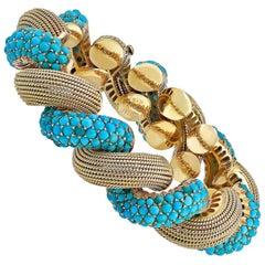 Cartier 1970s San Marco Turquoise Gold Bracelet