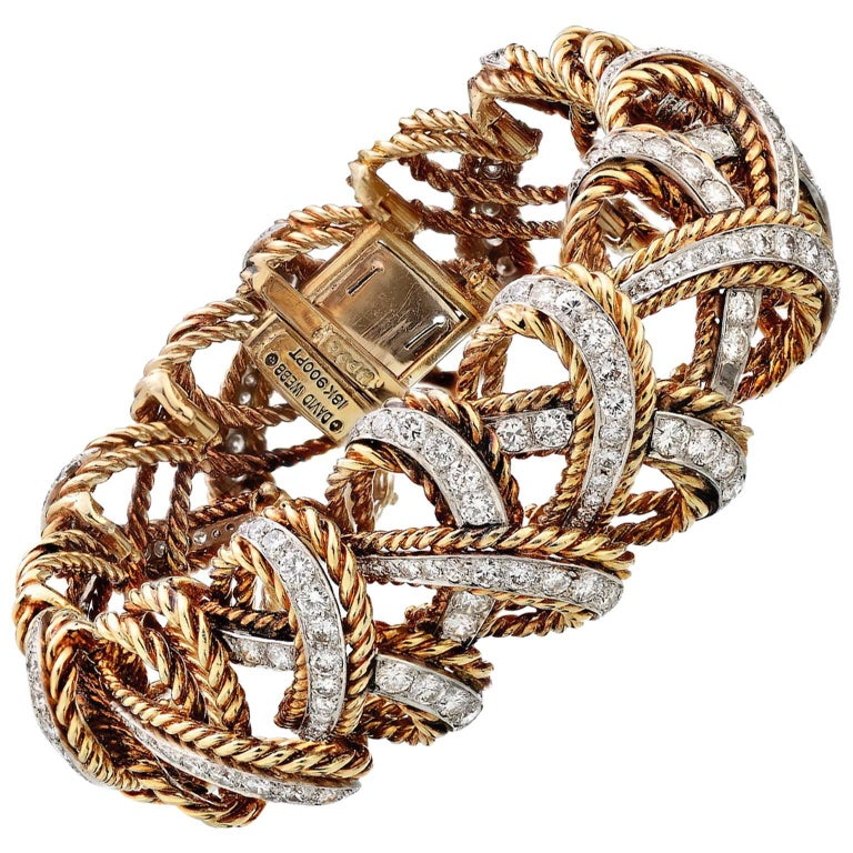 David Webb 1960s Gold Woven Diamond Bangle
