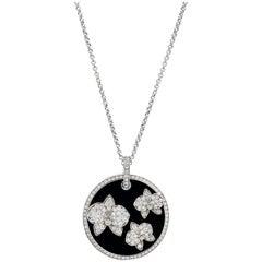 """Cartier """"Caresse d'Orchidées"""" Onyx Diamond Pendant and Chain"""