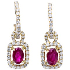 Burmese Ruby and Diamonds Dangle Hoop Earrings