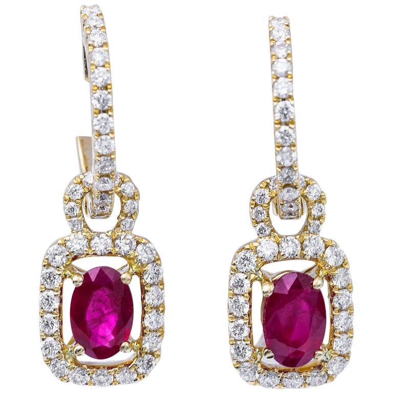 Burmese Ruby and Diamonds Dangle Hoop Earrings