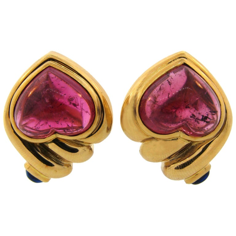 Bulgari Ruby Sapphire Yellow Gold Heart Earrings
