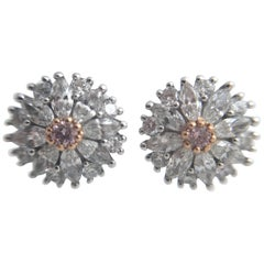 Pink and White Diamond Stud Earrings