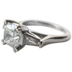 1.54 Carat Cushion Cut and Taper Baguette Diamond Ring