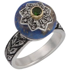 Emma Chapman Lapis Lazuli Diamond Chrome Diopside 18 Karat Yellow Gold Ring