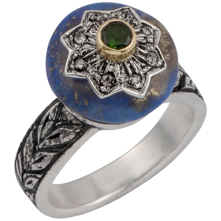 Emma Chapman Lapis Lazuli, Diamond and Chrome Diopside Star Ring