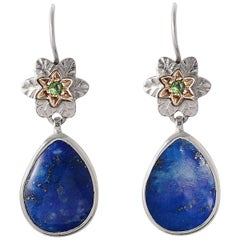 Emma Chapman Byzantine Star Lapis Lazuli Tsavorite Gold and Silver Earrings