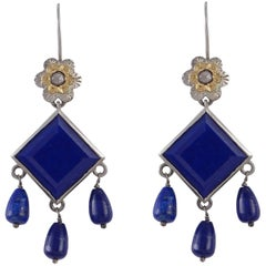 Emma Chapman  Lapis Lazuli Diamond Yellow Gold Silver Earrings