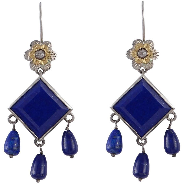 Emma Chapman  Lapis Lazuli Diamond Gold Silver Earrings