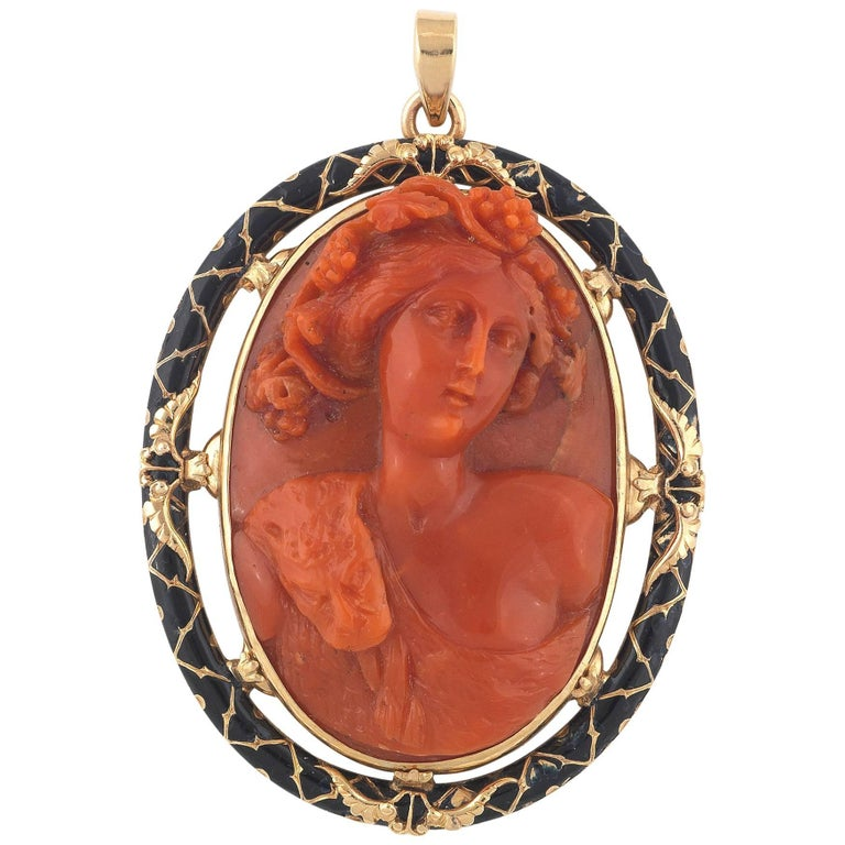 Coral Cameo Gold Black Enamel Dionysus Pendant For Sale