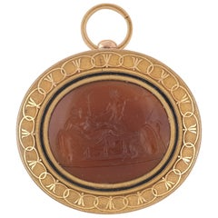 Prince Poniatowski Collection Sardonyx Gold Intaglio Pendant, circa 1815