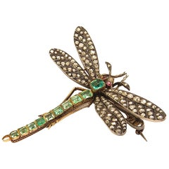 Art Nouveau Ruby Emerald Diamond Gold Silver Dragonfly Brooch