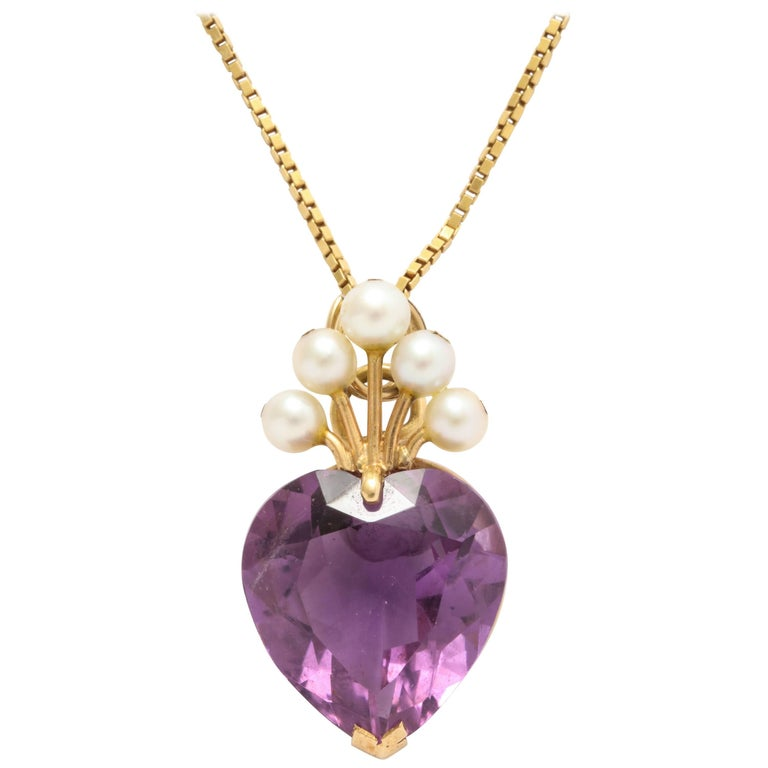 Amethyst Heart with a Pearl Tiara