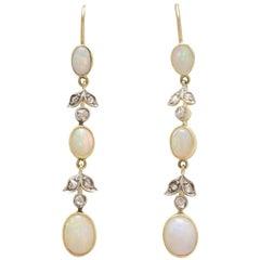 Edwardian Opal and Rose Cut Diamond Earrings