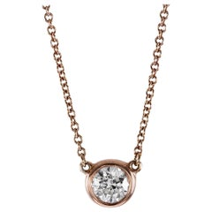 Round Brilliant Diamond in Rose Gold Solitaire Pendant Necklace