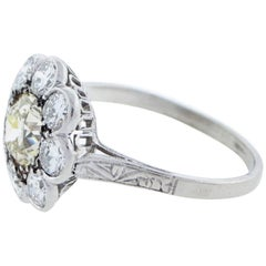 Park Place Antique Jewelry Unique Art Deco Light Fancy And White Diamond Cer Ring In Platinum