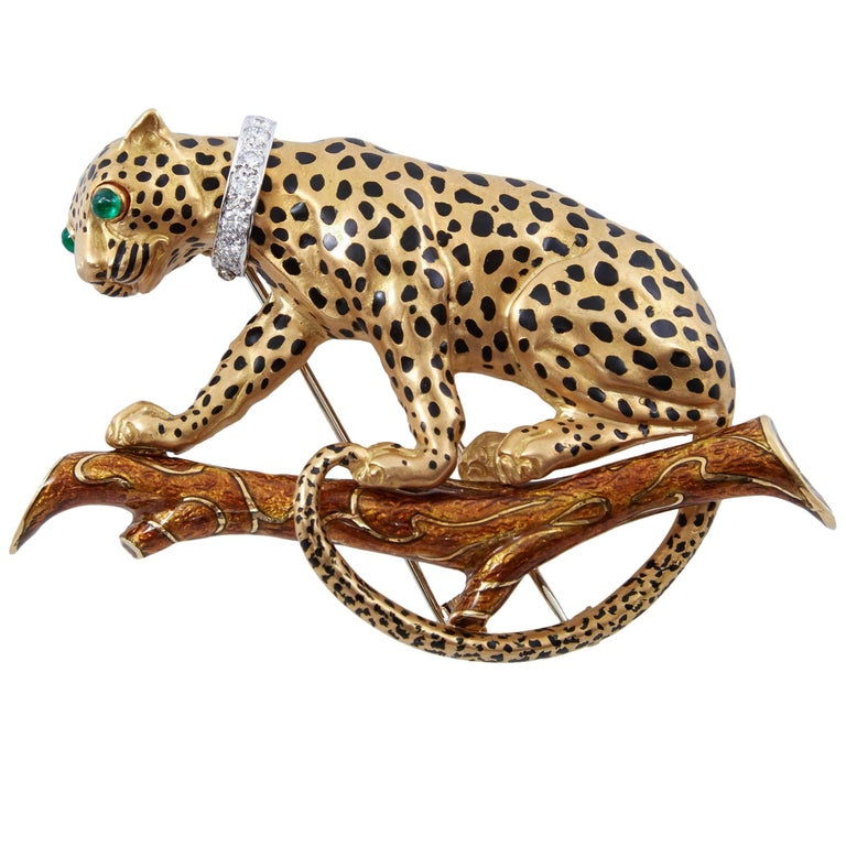 David Webb Leopard On Branch Enamel Gold Brooch