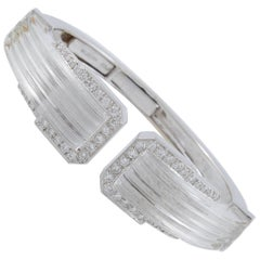 David Webb Diamond Carved Rock Crystal Cuff Bracelet