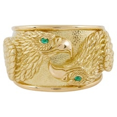 David Webb Repousse Gold Eagle Cuff