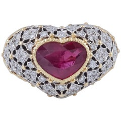 Gold Heart Ruby Diamond Ring by Buccellati