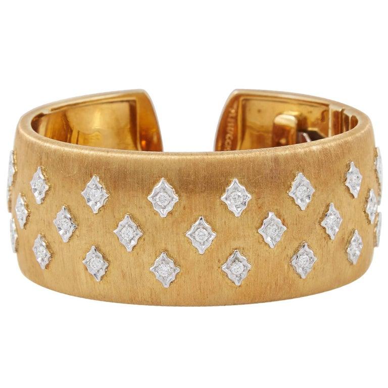 Mario Buccellati Diamond Gold Cuff Bracelet 1