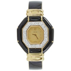 David Webb yellow Gold Diamond Black Enamel Cuff Wristwatch