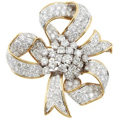 David Webb Ribbon Diamond Gold Bow Brooch