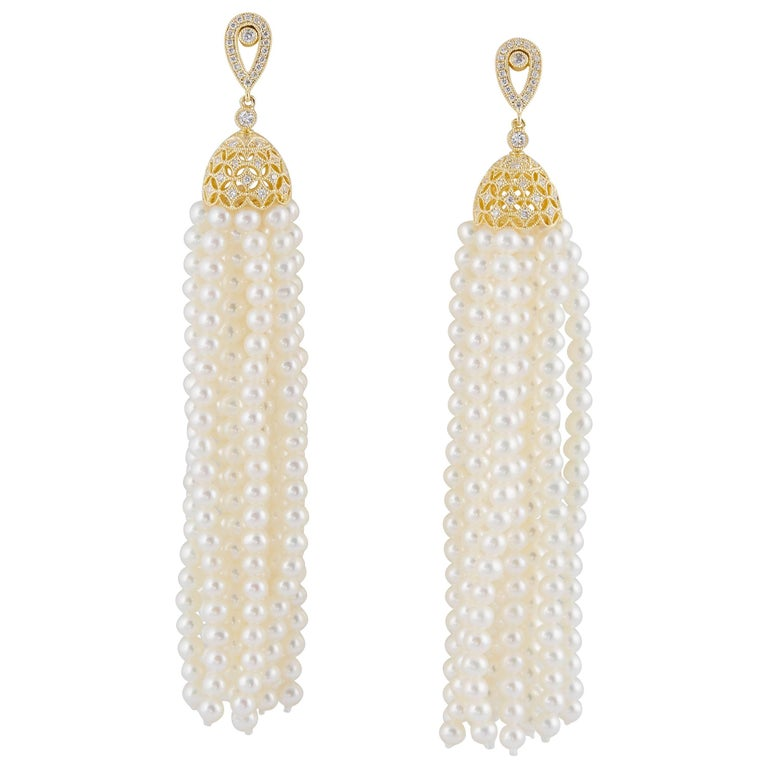Tassel Freshwater Pearl and Diamonds Dangle Earrings