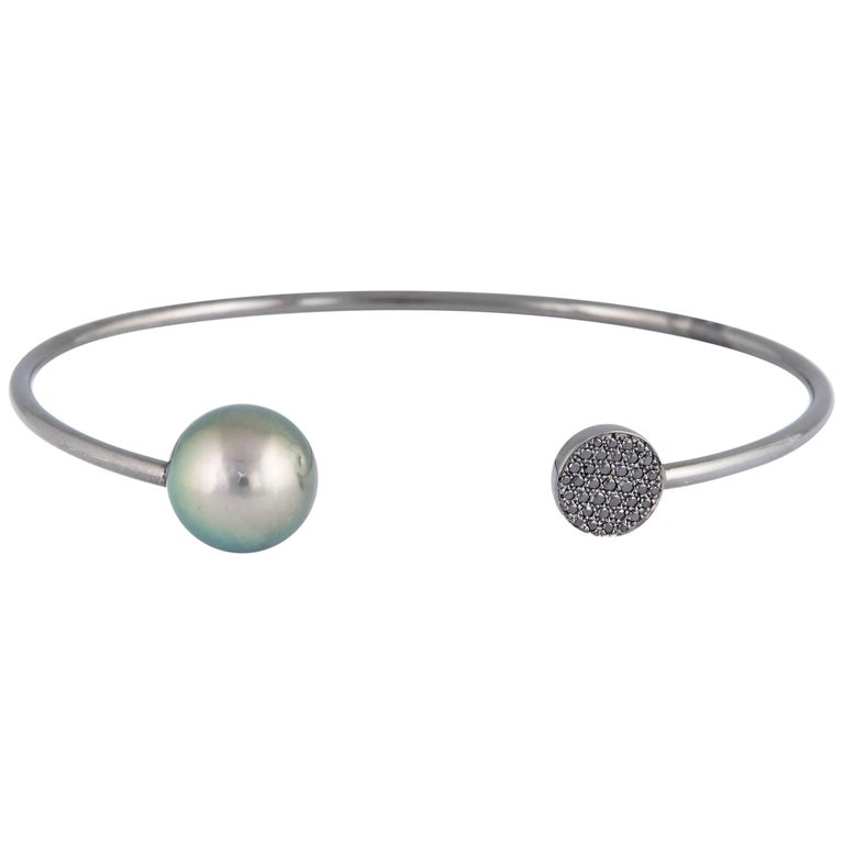 Black and White Diamond Tahitian Pearl Bangle 0.14 Carats 18K White Gold 11-12MM For Sale