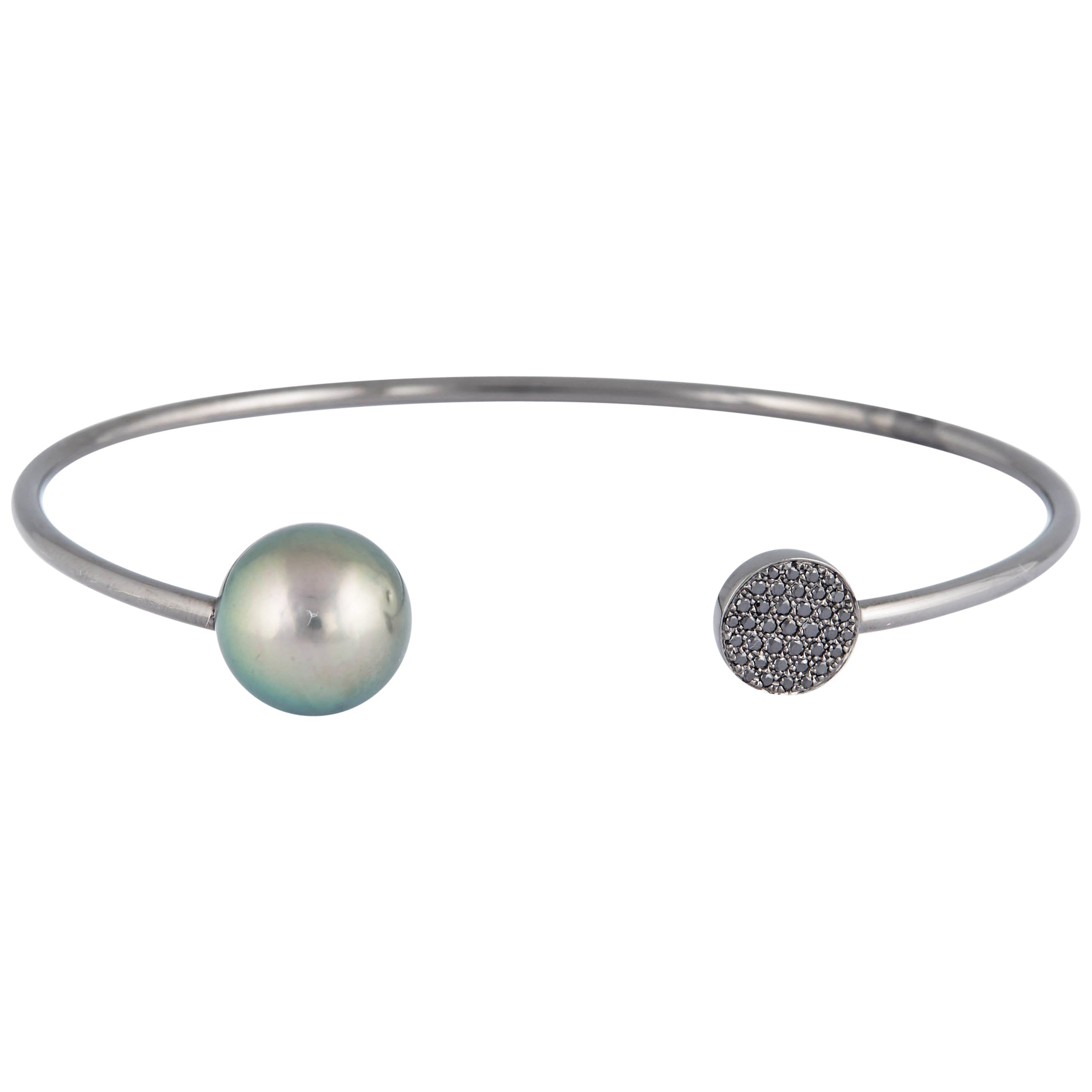 Black and White Diamond Tahitian Pearl Bangle 0.14 Carats 18K White Gold 11-12MM