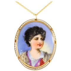Aristocratic Hand-Painted Cameo 14 Karat Gold Pendant/Brooch