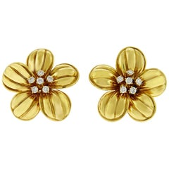 Diamond and 18 Karat Yellow Gold Flower Clip-On Earrings