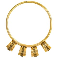 Retro Gold Torque Necklace with Citrine-Set Geometric Pendants