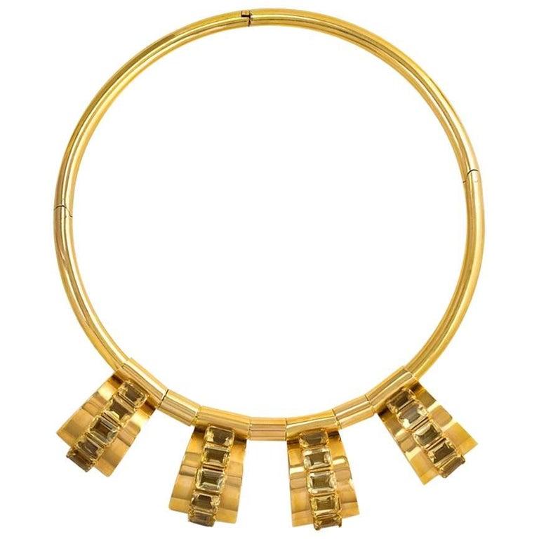 Retro Gold Torque Necklace with Citrine-Set Geometric Pendants