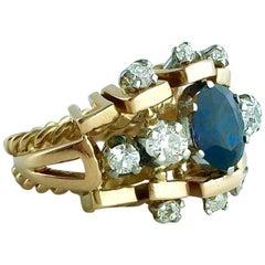 1950s Sapphire Diamond Pink Gold Platinum Ring