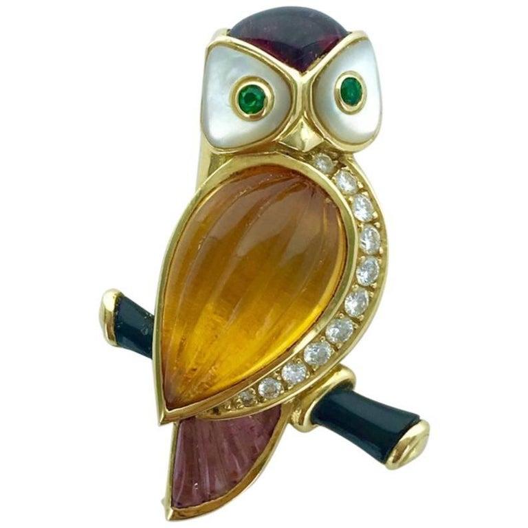 Van Cleef & Arpels Owl Amethyst Citrine Diamond Emerald Brooch Clip For Sale