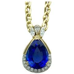 14.10 Carat Tanzanite Diamond Gold Pendant Necklace