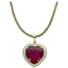 Pink Tourmaline Heart Shape on Diamond and Gold Pendant Necklace
