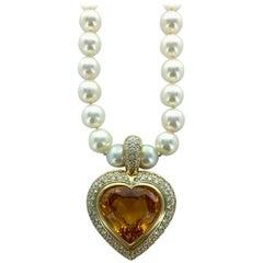 24.39 Carat Yellow Sapphire Heart Shape Diamond Gold Pearl Pendant Necklace